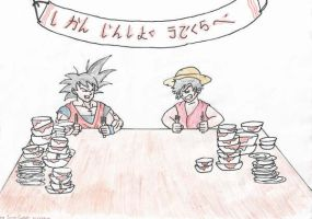 Goku VS Luffy eating contest by ss5sam