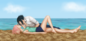 Sasusaku at the beach by Clavelle