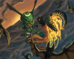 Rayquaza VS. Volvagia by Saskle