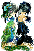 - Birds Masquerade - Chibi Peacock and Raven - by ooneithoo