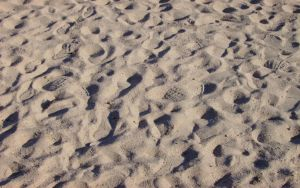 footprints in the sand by libertarian-hippie