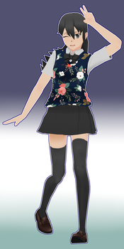 Navy Floral Skin for Yandere Simulator by SuchiSan0600