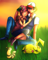 Nana and Ash in Love by m-sharlotte