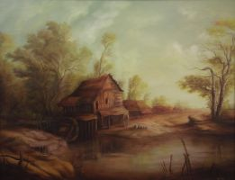 Dan Scurtu - Landscape with Old Romanian Watermill by DanScurtu