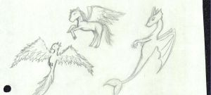 Water Dragon, Phoenix, and Pegasus