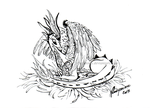 Illustration - Dove Dragon with egg by rosepeonie