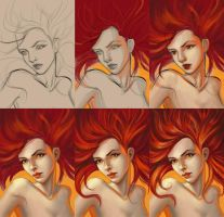 She Is Fire Progress by TanyaGreece