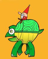 A gnome riding a turtle..... by super-rick