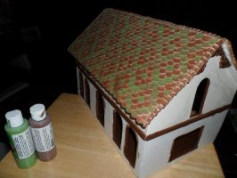 Gothic-ish Dollhouse 1:24 WIP 8: Shingles PAINTED by kayanah