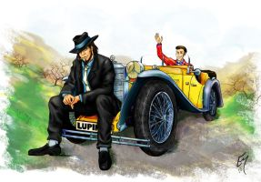 Lupin III, Jigen and their car by Boudicca-Keltoi