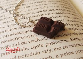 Polymer clay milk chocolate bar necklace by Benia1991