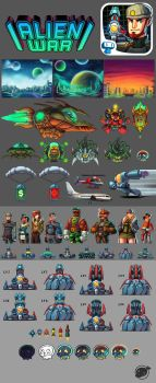 Alien War game assets by estivador