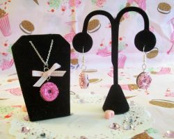 Doughnut Necklace and Earrings by lessthan3chrissy