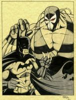 Batman and Bane con sketch by seanforney
