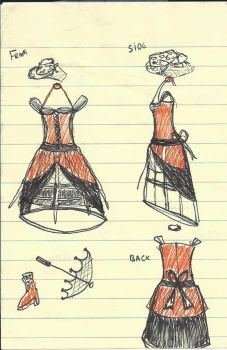 Costume Sketch - Steampunk Gown Version 1 by Twiganut