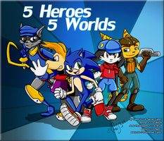 5 Heroes 5 Worlds by chao93