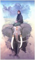 Girl and elephant by Geyzerrr