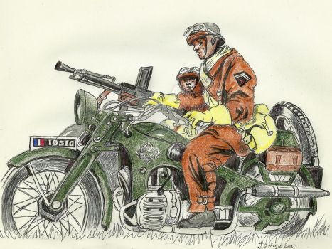 French Dragoon at motorcycle 1940 by Stcyr74