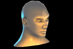 3d male face WIP Lowpoly With Ears by Alioli1