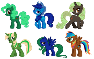 Reversed Mane6 adoptables! [CLOSED] by Derpyna