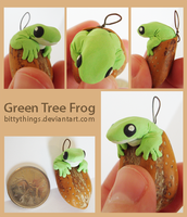 Green Tree Frog Nut Pendant - SOLD by Bittythings