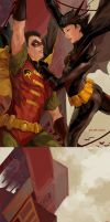 Robin and Batgirl: Detail BG by JenZee