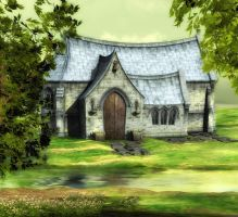 chapel background summer by indigodeep