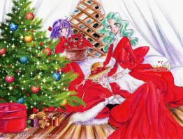 outer senshi  xmas  -  happy holidays everyone by zelldinchit
