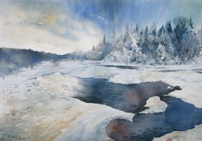 Winter river by GreeGW