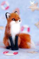 Needle felted red fox sitting by SaniAmaniCrafts