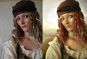 Pirate Before and after by IdaLarsenArt