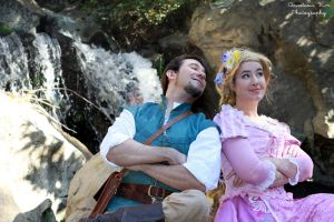 Flynn and Rapunzel Waterfall Cosplay by aimeekitty
