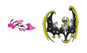 Lunala and Barboach - fakemon batch