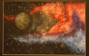 watercolor space scape by cheesefreeak