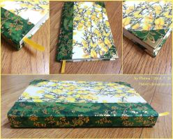 [bookmaking] Yellow-Green Forsythia Sketchbook by PlatinaSi