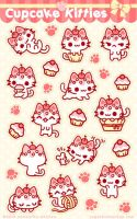 Cupcake Kitties Sticker Sheet by celesse