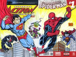 Superman and Spiderman crossover sketch cover by mdavidct
