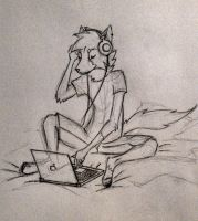 Headphones and a Laptop by swanheart12