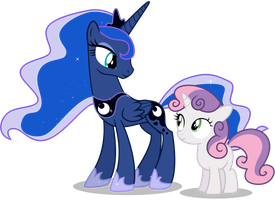 Princess Luna and Sweetie Belle by CaliAzian