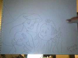 My Ariel and Flounder Drawing by Angelicsweetheart