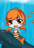 Chibi Mermaid Series - Clown Fish by Mibu-no-ookami