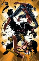 Spiderman, Venom, Spider Woman by g45uk2