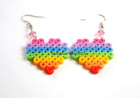Perler Earrings - Rainbow Heart - Pink Bead by MelodyMaid
