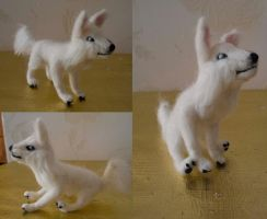 White Swiss Shepherd Dog Felt by Turtle-Duck