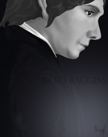Bilbo Baggins A Black and White Study by drkay85