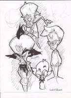 Crash Bandicoot doodles Cortex by selairy