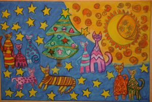 Christmas cats by ingeline-art