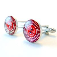 Red Circuit Board Cufflinks by Techcycle