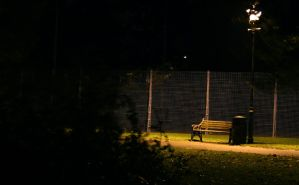 Empty Bench Lit Up by lewisjbirch