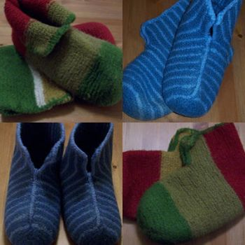 Knitted and Felted Slippers by Enira